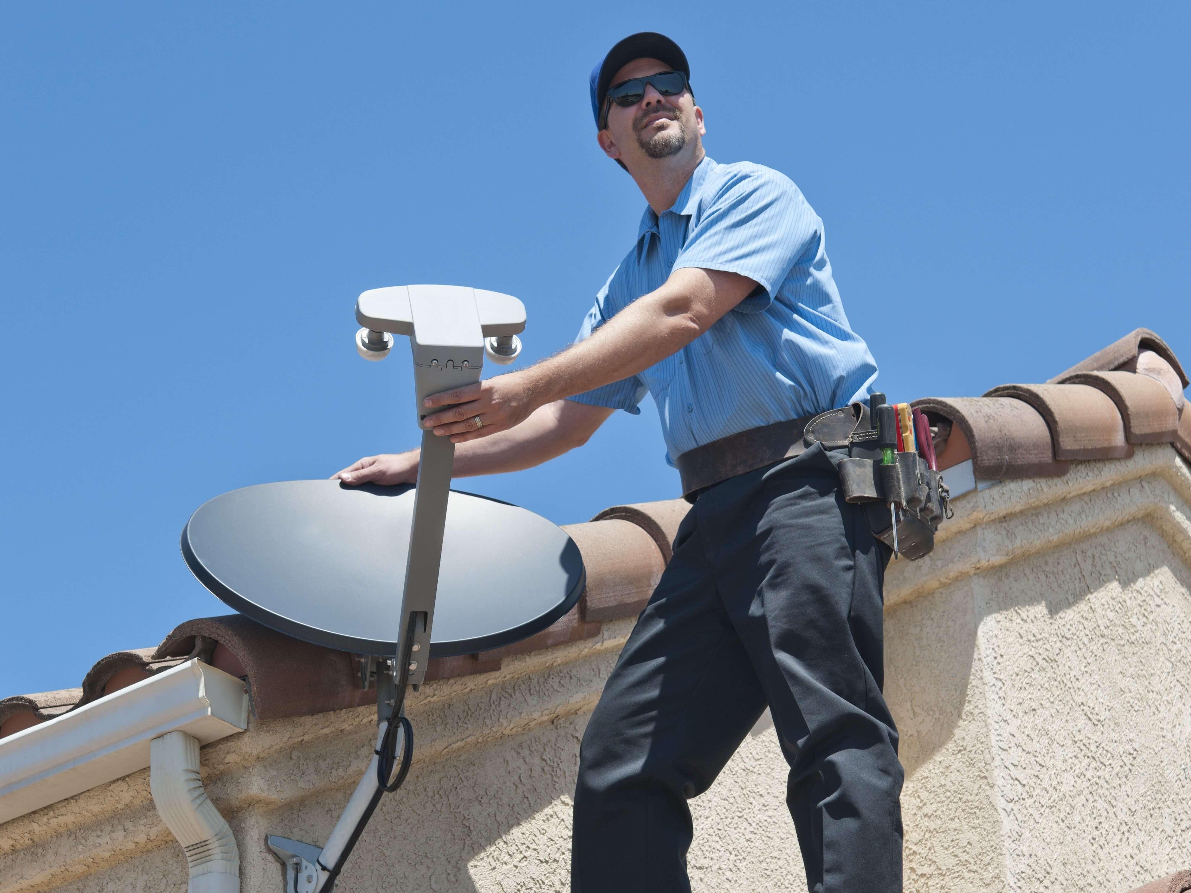 Satellite Installer on Roof